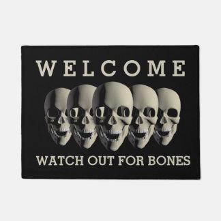 Creepy Skulls Skeleton Bones Halloween Welcome Doormat