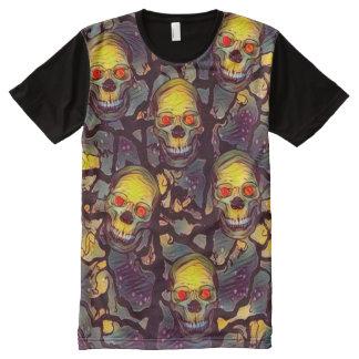 Creepy Skulls Web Horror Theme All-Over Print T-Shirt