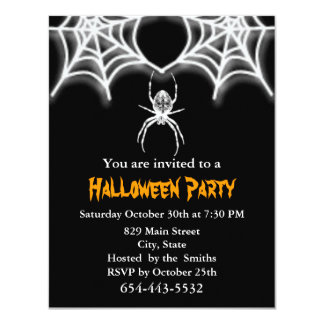 Creepy Spider & Web  Invitation Card Template