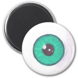 Creepy Teal Eyeball Magnet