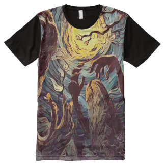 Creepy Undead Zombies Graveyard Dark Horror Art All-Over Print T-Shirt