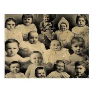 Creepy Victorian Evil Children Portrait Vintage Postcard