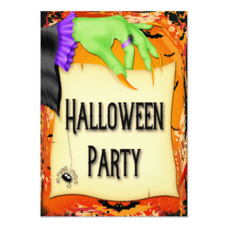 Creepy Witch Hand Halloween Party Card