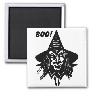 Creepy Witch Saying Boo Refrigerator Magnet