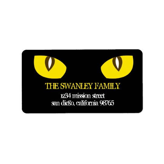Creepy yellow cat eyes death stare return address label