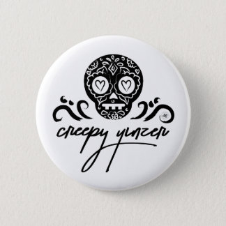 Creepy Yinzer Sugar Skull Emoji 6 Cm Round Badge