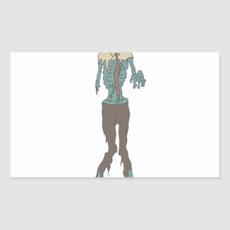 Creepy Zombie Wearing Tie With Rotting Flesh Outli Rectangular Sticker