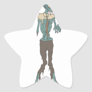 Creepy Zombie Wearing Tie With Rotting Flesh Outli Star Sticker