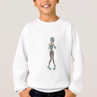 Creepy Zombie Wearing Tie With Rotting Flesh Outli Sweatshirt