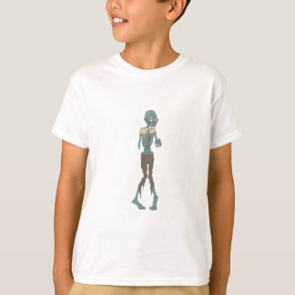 Creepy Zombie Wearing Tie With Rotting Flesh Outli T-Shirt