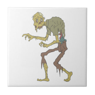 Creepy Zombie With Melting Skin With Rotting Flesh Tile