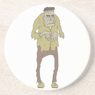 Creepy Zombie With Stitched Eyes With Rotting Coaster