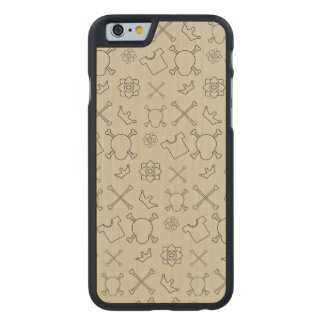 Creme brulee Skull and Bones pattern Carved Maple iPhone 6 Case