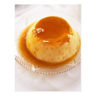Creme caramel type of pudding with caramel postcard