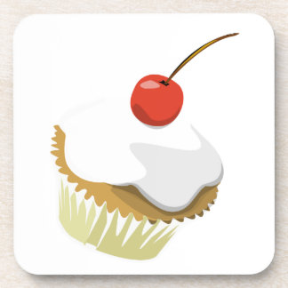Creme cupcake with cherry cork coaster