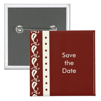 Creme Maroon Save the Date Pin