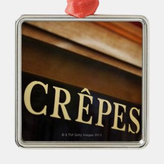 Crepes sign, Paris Square Metal Christmas Ornament