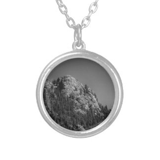Crescent Moon and Buffalo Rock Silver Plated Necklace