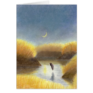 Crescent Moon and Great Blue Heron Card
