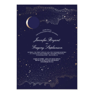 Crescent Moon and Night Stars Engagement Party Card