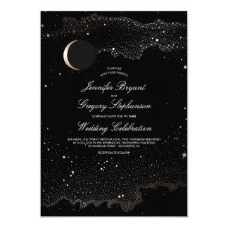Crescent Moon and Night Stars Modern Wedding Card