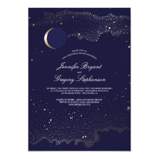 Crescent Moon and Night Stars Rehearsal Dinner Card