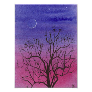 Crescent Moon and Peculiar Tree Poster