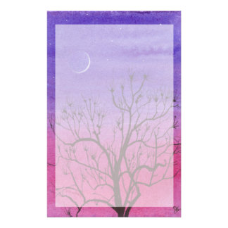 Crescent Moon and Peculiar Tree Stationery
