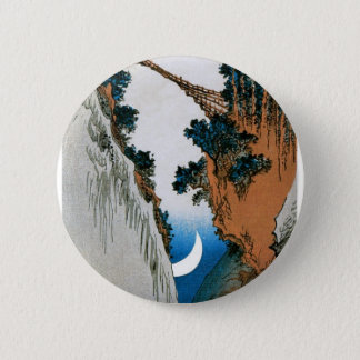 Crescent Moon, Bridge, and Waterfall. Japan. 6 Cm Round Badge