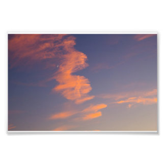 Crescent Moon, Evening Sky, Ohio Photo Print