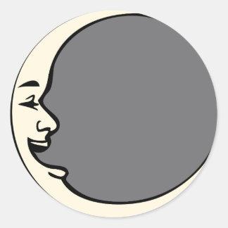 Crescent Moon Face Round Sticker