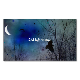 Crescent Moon Fantasy Crow Art Magnetic Business Card
