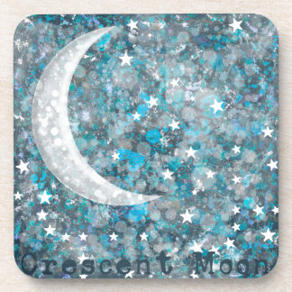 Crescent moon, galaxy and stars coasters