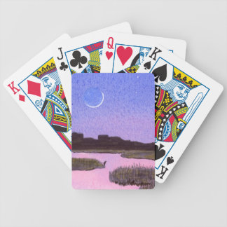 Crescent Moon & Heron in Twilight Marsh Bicycle Playing Cards