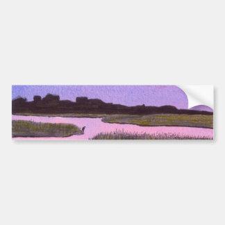 Crescent Moon & Heron in Twilight Marsh Bumper Sticker