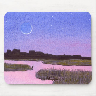 Crescent Moon & Heron in Twilight Marsh Mouse Pad