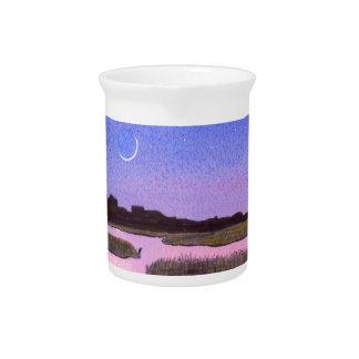 Crescent Moon & Heron in Twilight Marsh Pitcher
