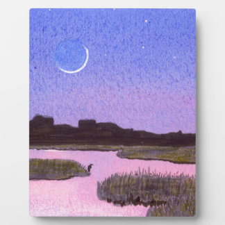 Crescent Moon & Heron in Twilight Marsh Plaque