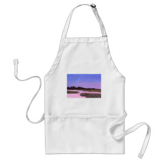 Crescent Moon & Heron in Twilight Marsh Standard Apron