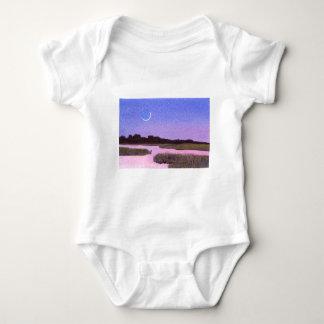 Crescent Moon & Heron Twilight Marsh Baby Bodysuit