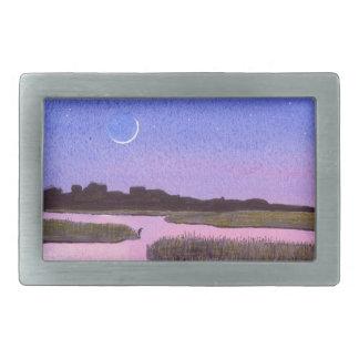 Crescent Moon & Heron Twilight Marsh Rectangular Belt Buckles