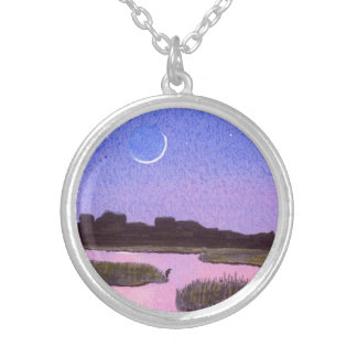 Crescent Moon & Heron Twilight Marsh Silver Plated Necklace