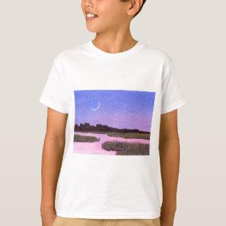 Crescent Moon & Heron Twilight Marsh T-Shirt