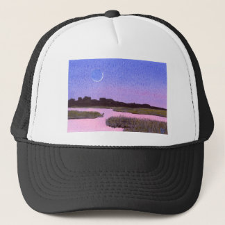 Crescent Moon & Heron Twilight Marsh Trucker Hat
