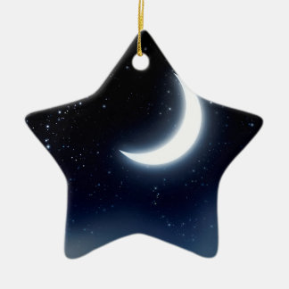 Crescent Moon over Starry Sky2 Ceramic Ornament