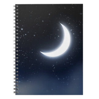 Crescent Moon over Starry Sky2 Notebooks