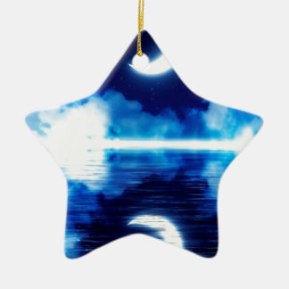 Crescent Moon over Starry Sky Ceramic Ornament