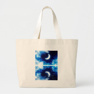 Crescent Moon over Starry Sky Large Tote Bag
