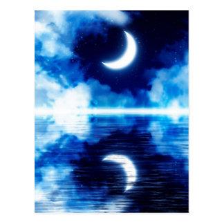 Crescent Moon over Starry Sky Postcard