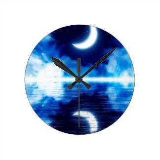 Crescent Moon over Starry Sky Round Clock